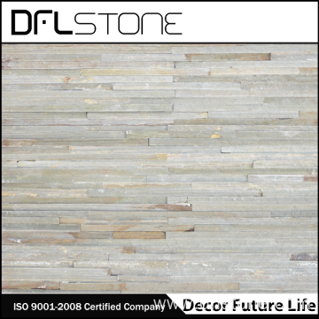 White Quartz Water Flow Natural Stacked Stone Panel